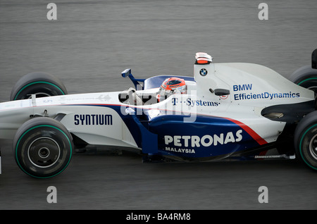 BMW Sauber F1 Team driver Robert Kubica of Poland steers his car during the third practice session ahead the 2009 - Stock Photo