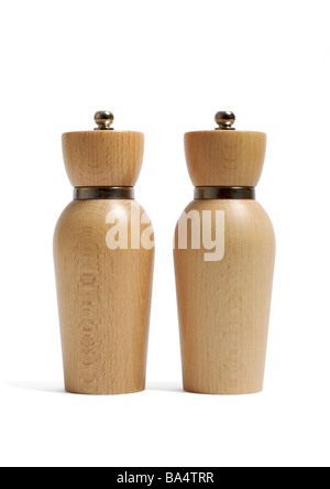 Wooden salt and pepper mills on white background - Stock Photo