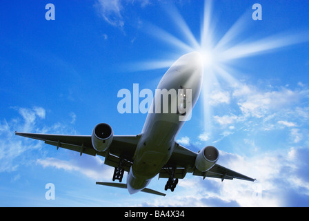 Jumbo Jet Taking Off From the Runway at International Airport - Stock Photo