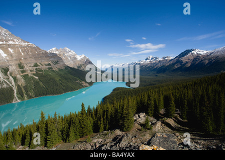 Beautiful View of Mountains Reflecting in Peyto Lake - Stock Photo