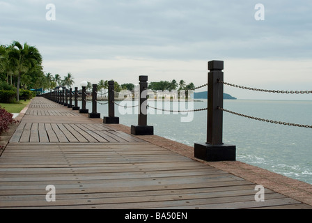 Waterfront decking at the Shangri-La Tanjung Aru Resort and Spa, Kota Kinabalu, Borneo, Malaysia - Stock Photo