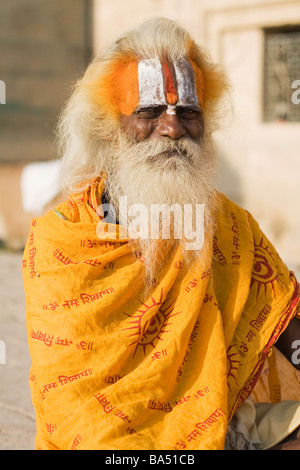 Portrait of a Sadhu taken in Varanasi, India - Stock Photo