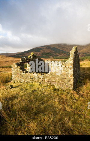 Ruined croft cottage in Glen More Isle of Mull - Stock Photo
