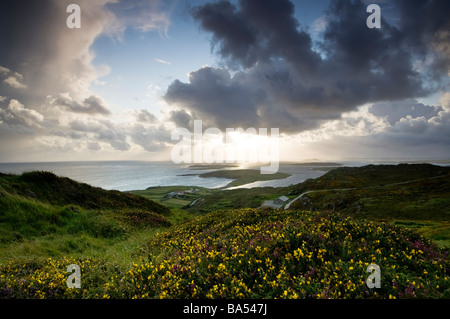 View from Sky Road near Clifden over looking the county Galway coast at sunset - Stock Photo