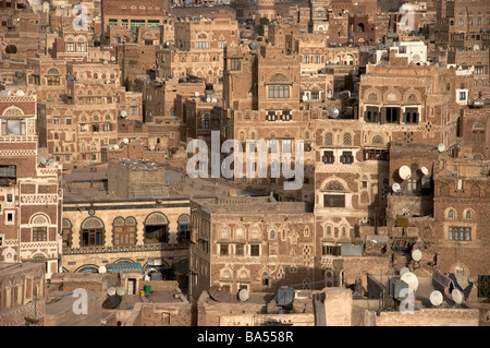 A cluster of tower houses in the old city of Sana'a, Yemen. - Stock Photo