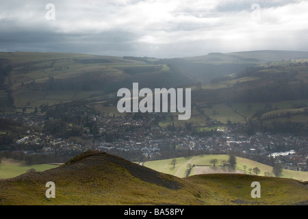 Wales - view from Dinas Bran to Llangollen in February sunlight - Stock Photo