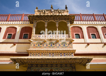 Balcony decorated with peacock paintings, Pritam Niwas Chowk, City Palace, Jaipur, Rajasthan, India - Stock Photo