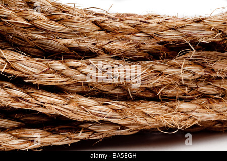 A horizontal macro of a coil of rope - Stock Photo