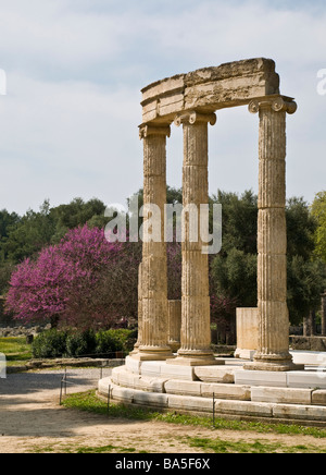 The philippeion at Ancient Olympia Peloponnese Greece - Stock Photo