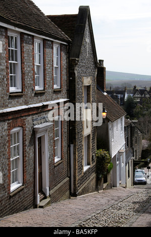 Buildings on the historic Keere Street in Lewes town centre West Sussex England UK - Stock Photo