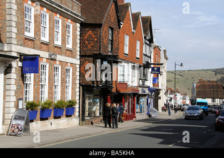 High Street buildings in the historic Lewes town centre West Sussex England UK - Stock Photo