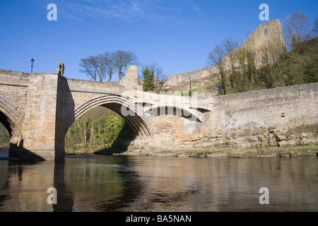 England UK March View across River Tees to the ruins of the Norman Castle perched on a rocky crag - Stock Photo