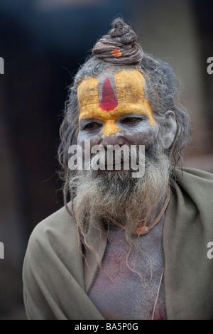 Portrait of Sadhu Hindu Holy man at Pashupatinath, Kathmandu Valley, Nepal, Asia. Vertical 90472 Nepal - Stock Photo