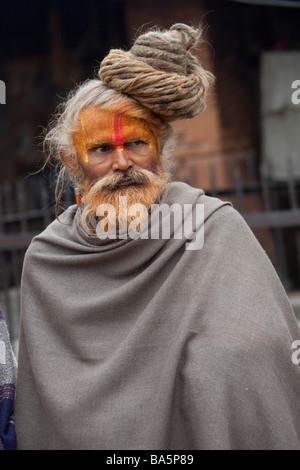 Portrait of Sadhu Hindu Holy man at Pashupatinath, Kathmandu Valley, Nepal, Asia. Vertical 90474 Nepal - Stock Photo