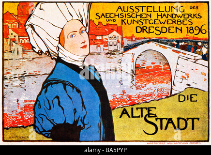 Alte Stadt Dresden 1896 poster for an exhibition of Saxon arts and crafts in the regional capital