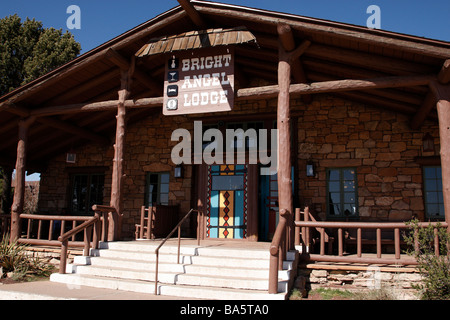 entrance to the bright angel lodge grand canyon national park south rim arizona usa - Stock Photo