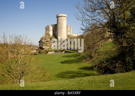 The castle of William the Conqueror on the cliff at Falaise, Normandy, France - Stock Photo