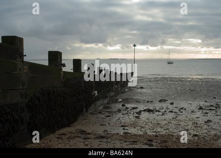 Groyne on the beach in Southend-on-Sea on Christmas Day - Stock Photo