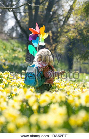 Girl with pinwheel walking through daffodil field - Stock Photo