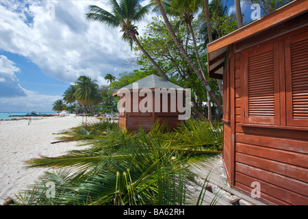Beach huts under development, covered with coconut leaves in Worthing beach, Barbados, 'West Indies' - Stock Photo