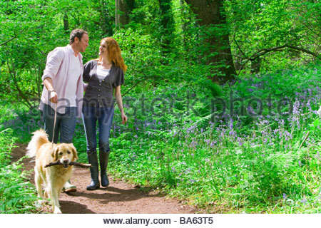 Couple and dog walking in forest among bluebell flowers - Stock Photo
