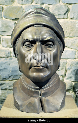Bronze bust of Italian Renaissance writer Dante Alighieri. Author of The Divine Comedy and The Inferno - Stock Photo