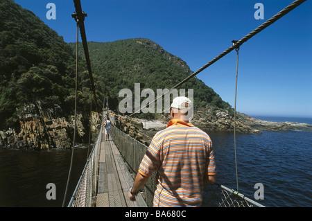 Africa visitors bridge bridge-construction coastal nationally parks estuary builds 1956 river guards route hängebrücke - Stock Photo