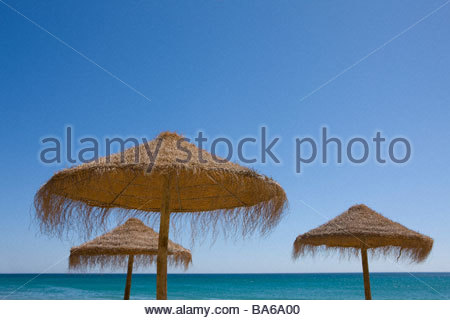 Beach umbrellas on tropical beach - Stock Photo