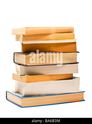 Books - stack of old books on white background - Stock Photo
