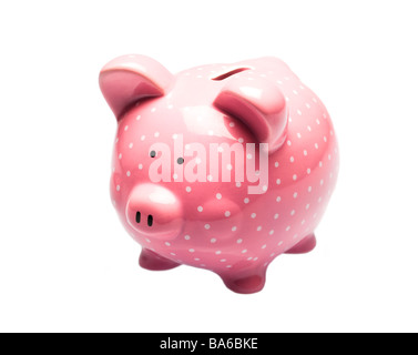 Pink piggy bank with white spots on white - Stock Photo