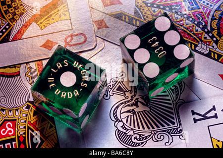 Las Vegas casino dice on playing cards - Stock Photo