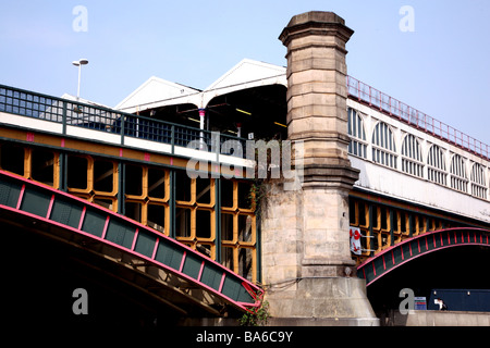 Charing Cross station seen from river, London - Stock Photo