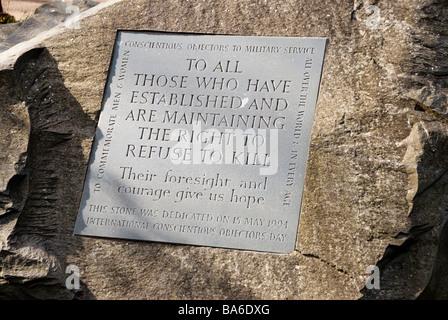 Conscientious Objector memorial plaque on stone in Tavistock Square London. - Stock Photo