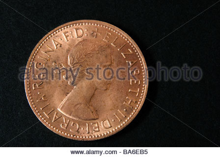 1 Penny Coin Queen Elizabeth Ii Uk 1965 Stock Photo