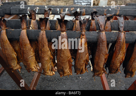 Arbroath smokies on sale at a farmers market in Scotland - Stock Photo