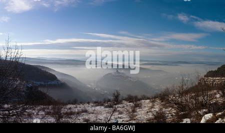 Winter scene, Panoramic image of Veliko Tarnovo from Arbanassi village Tzarevetz winter january landmarks - Stock Photo
