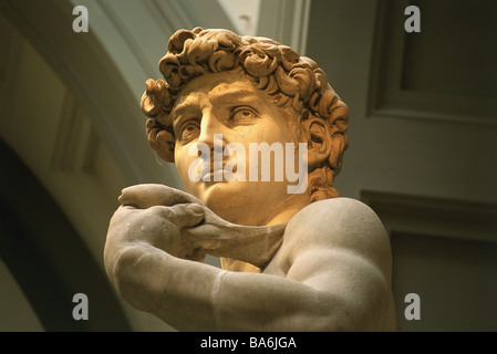 Italy Tuscany Florence Galleria dell Accademia David-statue detail head museum David-statue statue David Artist - Stock Photo