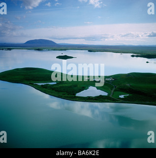 Pseudocraters in Lake Myvatn, Northern Iceland - Stock Photo