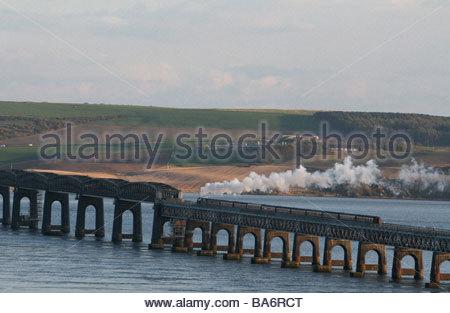 Steam Train crossing Tay Rail bridge Dundee, Scotland   April 2009 - Stock Photo