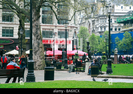 Charlie Chaplin statue in Leicester Square Gardens, London, England, UK. - Stock Photo