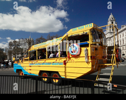 The Duck tour bus. London England UK. - Stock Photo