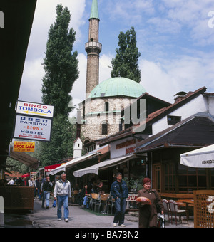 Bosnia and Hercegovina Sarajevo old part of town Bascarsija alley street-cafes tourists no models release Balkan - Stock Photo
