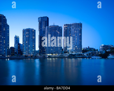 Brisbane City Apartments at night - Stock Photo