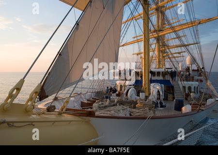 View from Bowsprit Net, Aboard Sailing Cruiseship Royal Clipper (Star Clippers Cruises), Adriatic Sea, near Rovinj, - Stock Photo