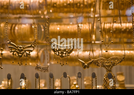Gold jewellery in a shop window at a Jewellery Shop at Souq al-Hamidiyya covered market, Damascus, Syria, Asia - Stock Photo