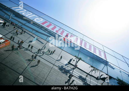 Reflective front of the shoppingcenter mare magnum, Barcelona, Katalanien, Spain - Stock Photo