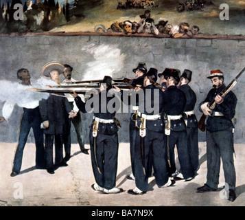 Maximilian I, 6.7.1832 - 19.6.1867, emperor of Mexico from 1864, death, execution in Queretaro, painting by Edouard - Stock Photo