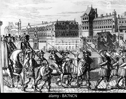Louis XIV, 5.9.1638 - 1.9.1715, King of France 1643 - 1715, entering Paris, 18.8.1649, next to him his brother Philippe of Orleans, contemporary copper engraving, Artist's Copyright has not to be cleared