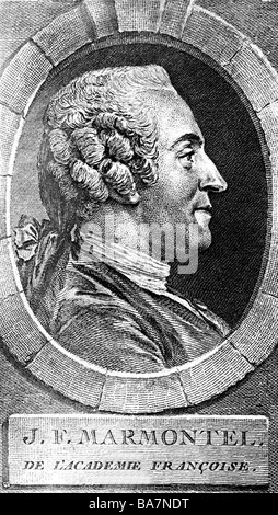 Marmontel, Jean Francois, 11.7.1723 - 31.12.1799, French author / writer, portrait, side view, copper engraving, - Stock Photo