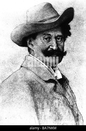 Strauss, Johann II (the Younger), 25.10.1825 - 3.6.1899, Austrian composer, portrait, late 19th century, Artist's - Stock Photo